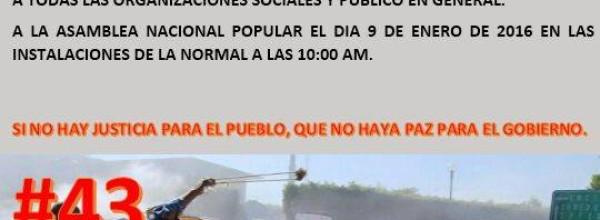 9 ene: Asamblea Nacional Popular en Ayotzinapa