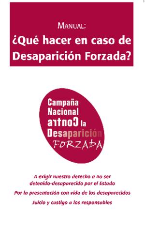 Portada Manual Que hacer en caso de desaparicion forzada