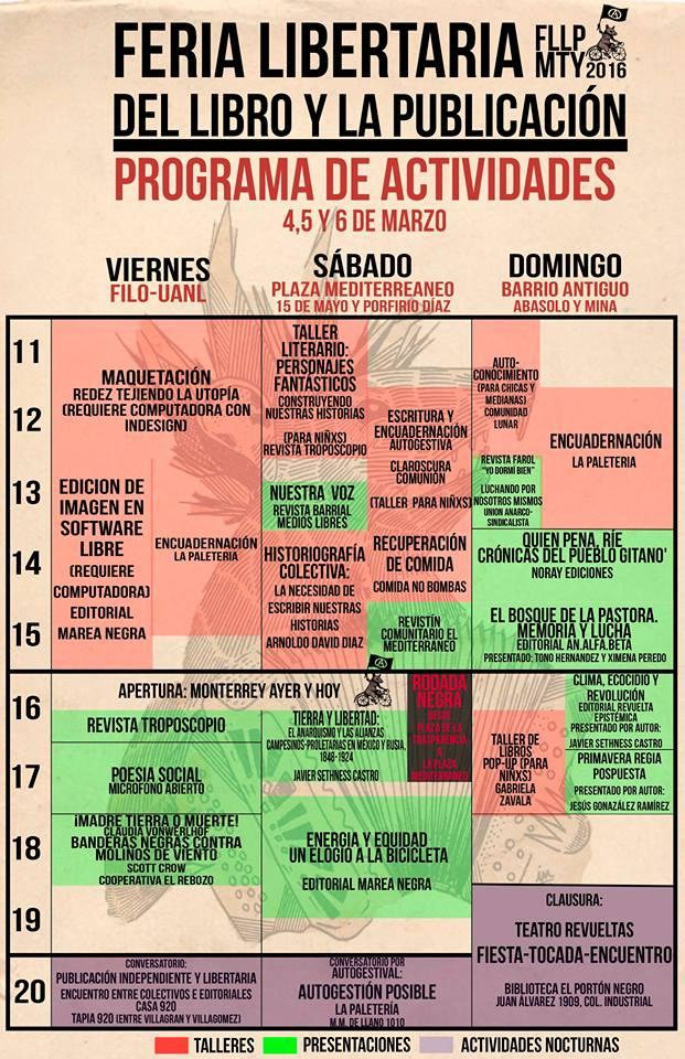 Programa de la Feria libertaria del libro en Monterrey