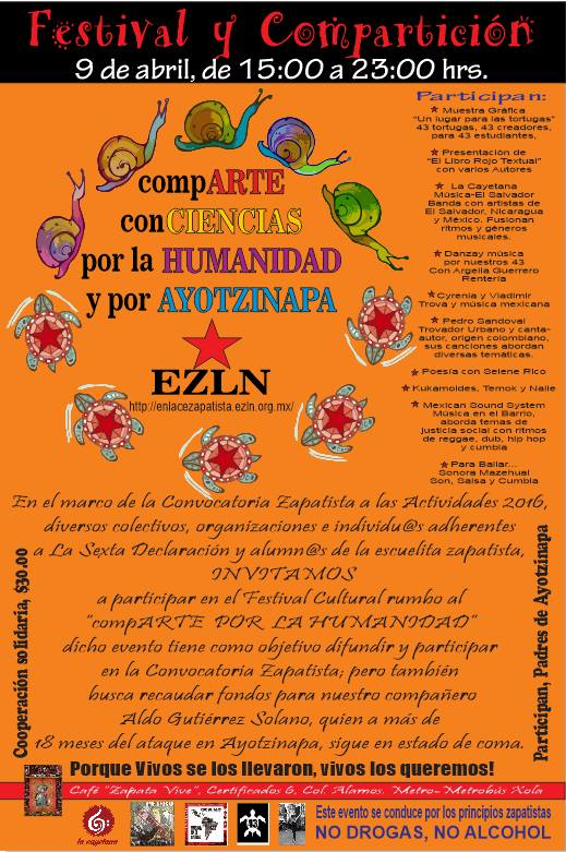9 abr Festival compARTE por Ayotzinapa