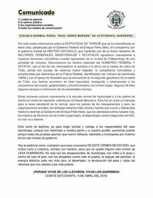 9 abr Operativo vs estudiantes Ayotzinapa