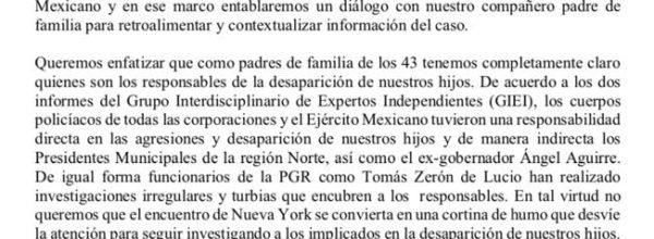 Ayotzinapa: ¿Quién es responsable de la desaparición de nuestros hijos?